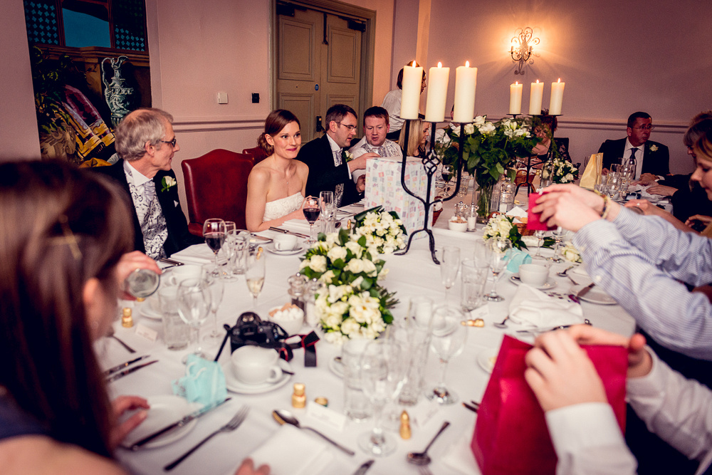 guests sit down for wedding breakfast