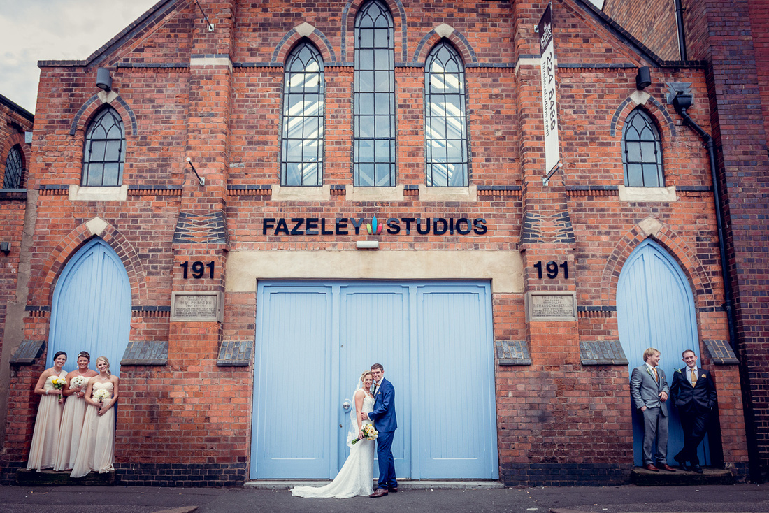 Wedding Photography at Fazeley Studios in Birmingham relaxed group shot