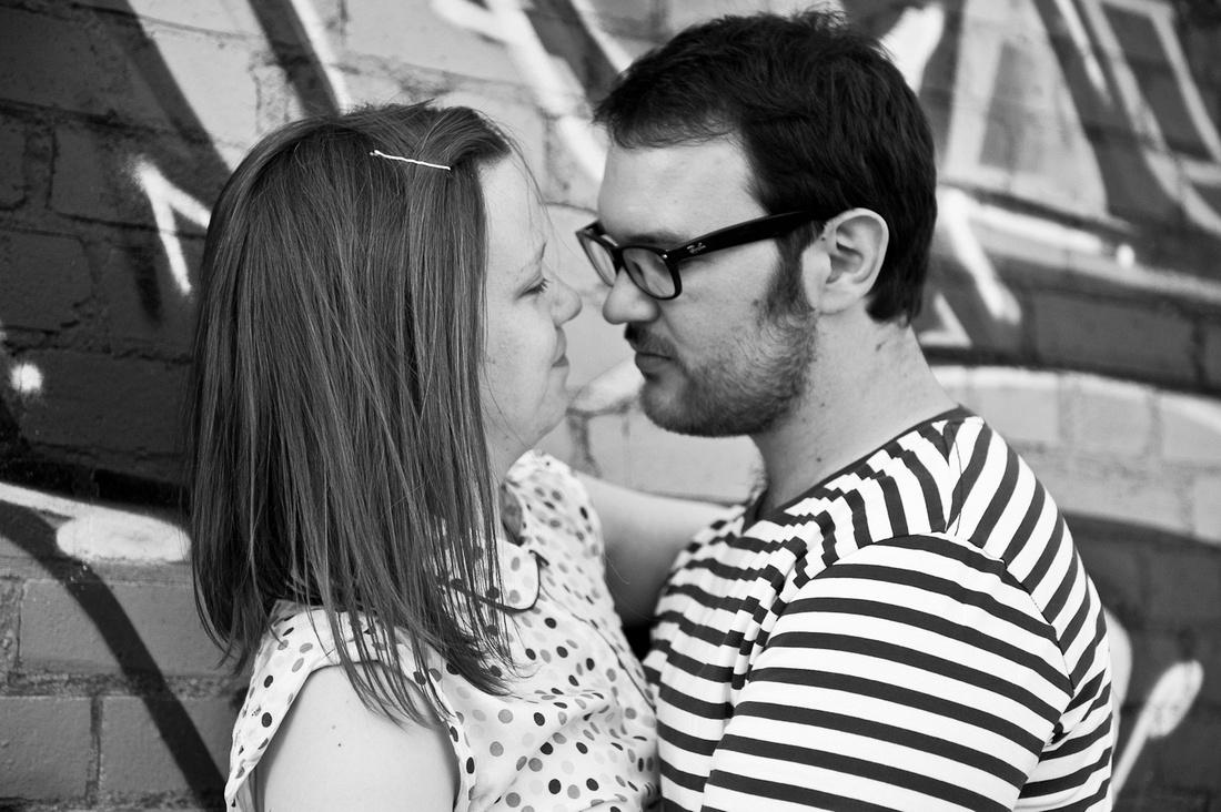 Amy John pre-wedding photography Digbeth wall graffiti