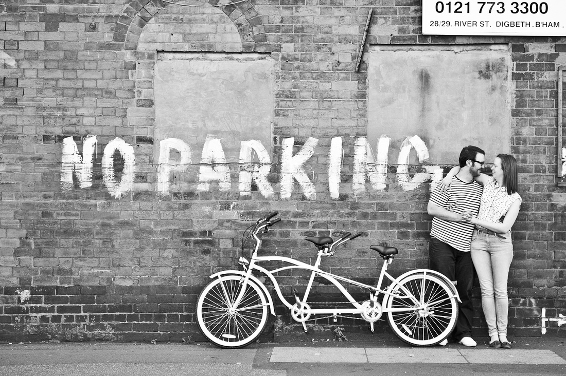 modern contemporary engagement photography bike