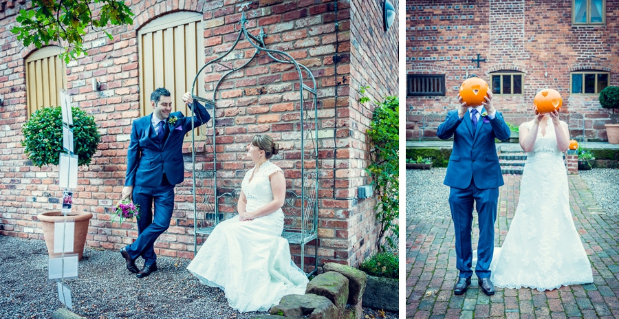 Wedding Photography at Curradine Barns in Worcestershire  bride groom holding pumpkins