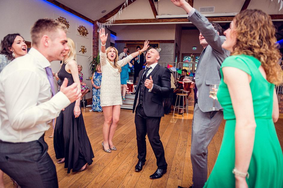 dancefloor fun at Warwickshire wedding