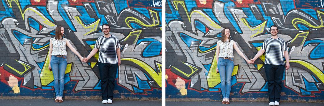 Amy John graffiti wall contemporary engagement photography Birmingham