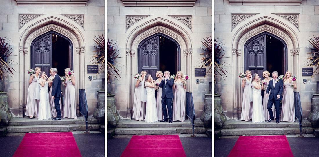 bride and bridesmaids leaving Hampton Manor