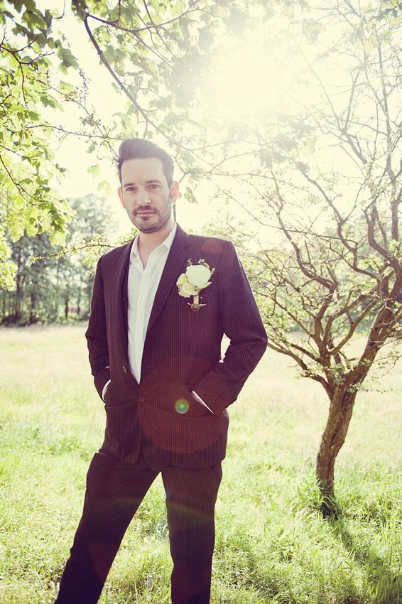 vintage suit groom natural light outdoors wedding