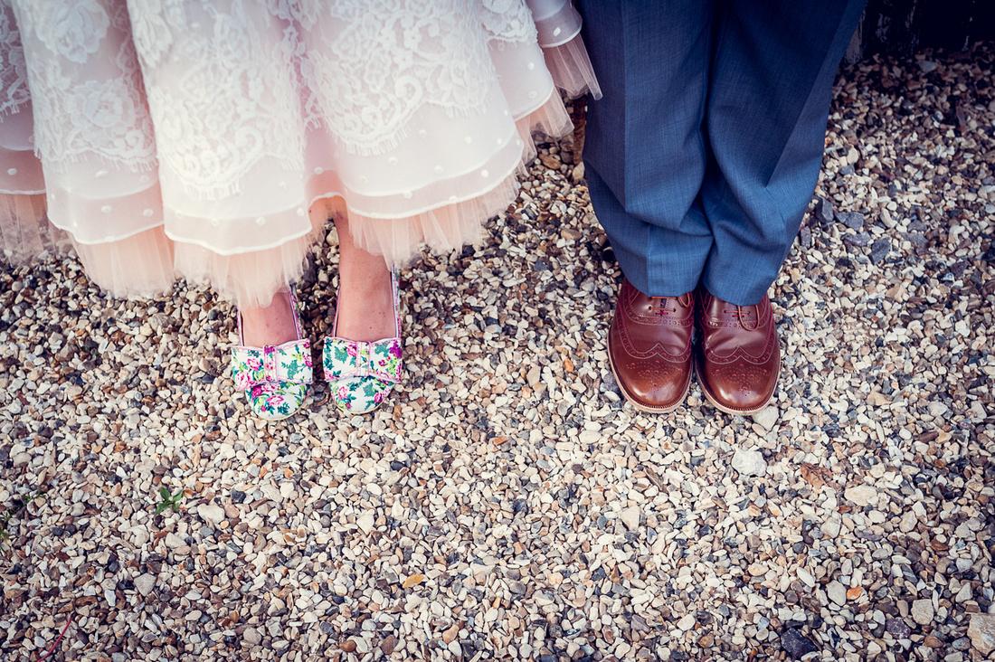 feet shot of bride's Irregular Choice Mutiny shoes