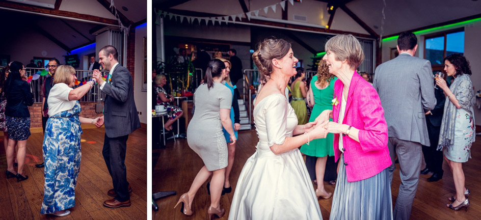 bride and groom dancing with mums
