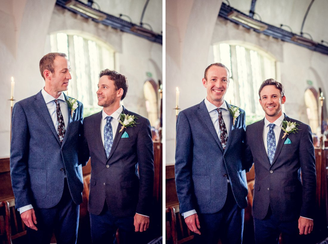 groom and best man before wedding at St Mary's Church Hatton Warwickshire