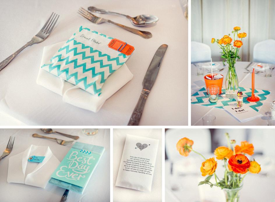 turquoise and orange wedding details