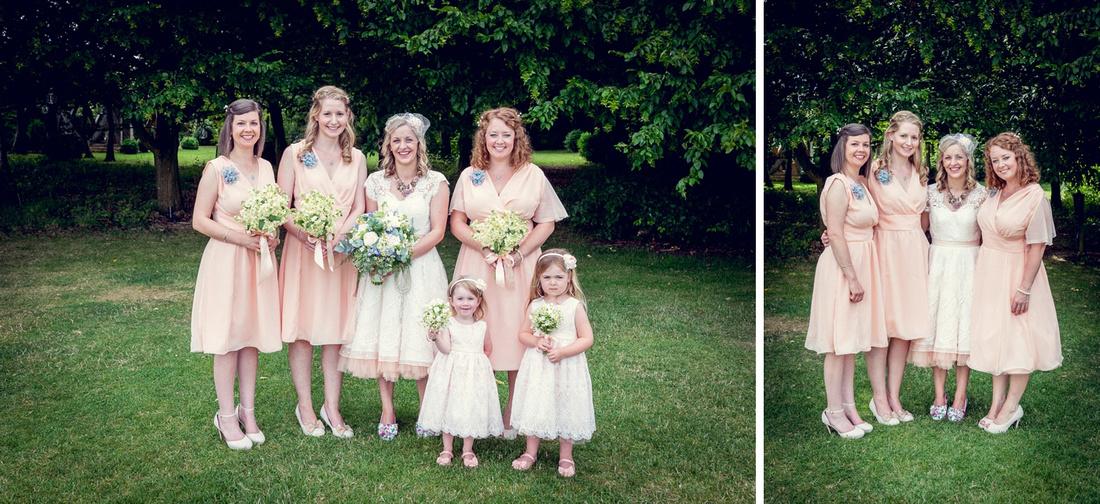 Bridesmaids in peach dresses at Cripps Barn wedding