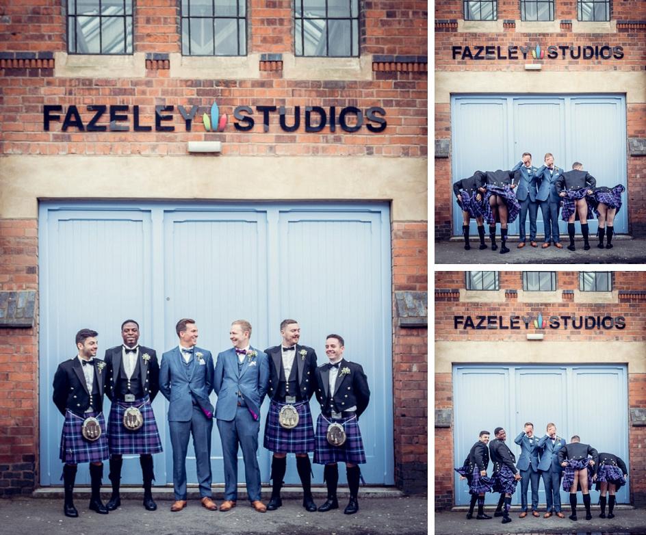 groomsmen in kilts outside Fazeley Studios