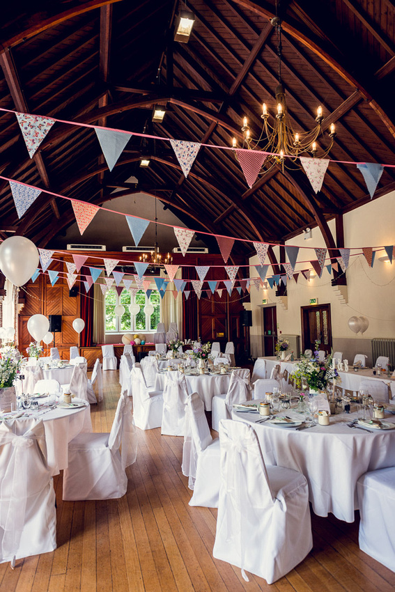 Hatton Village Hall set up for wedding with bunting