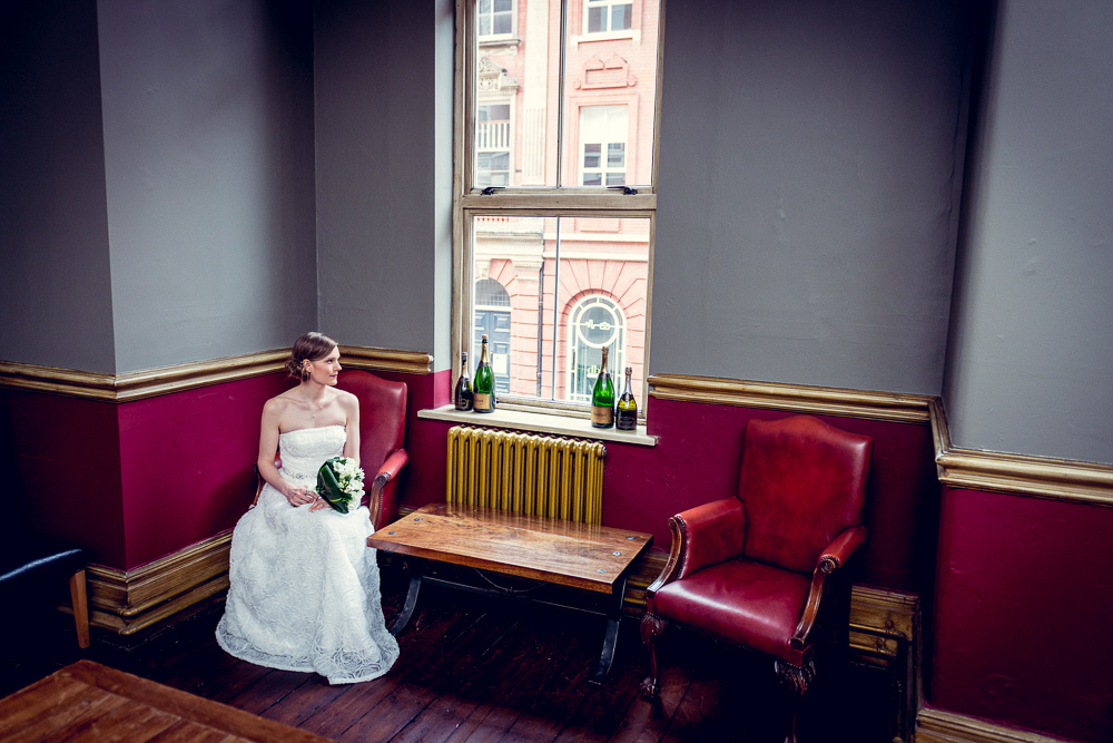 bride waiting before wedding at Hotel du Vin in Birmingham