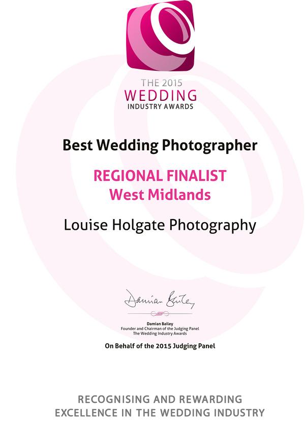 The 2015 Wedding Industry Awards REGIONAL FINALIST<br />West Mid