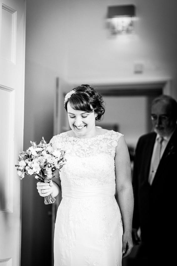bride enters the Adam Hall at Compton Verney
