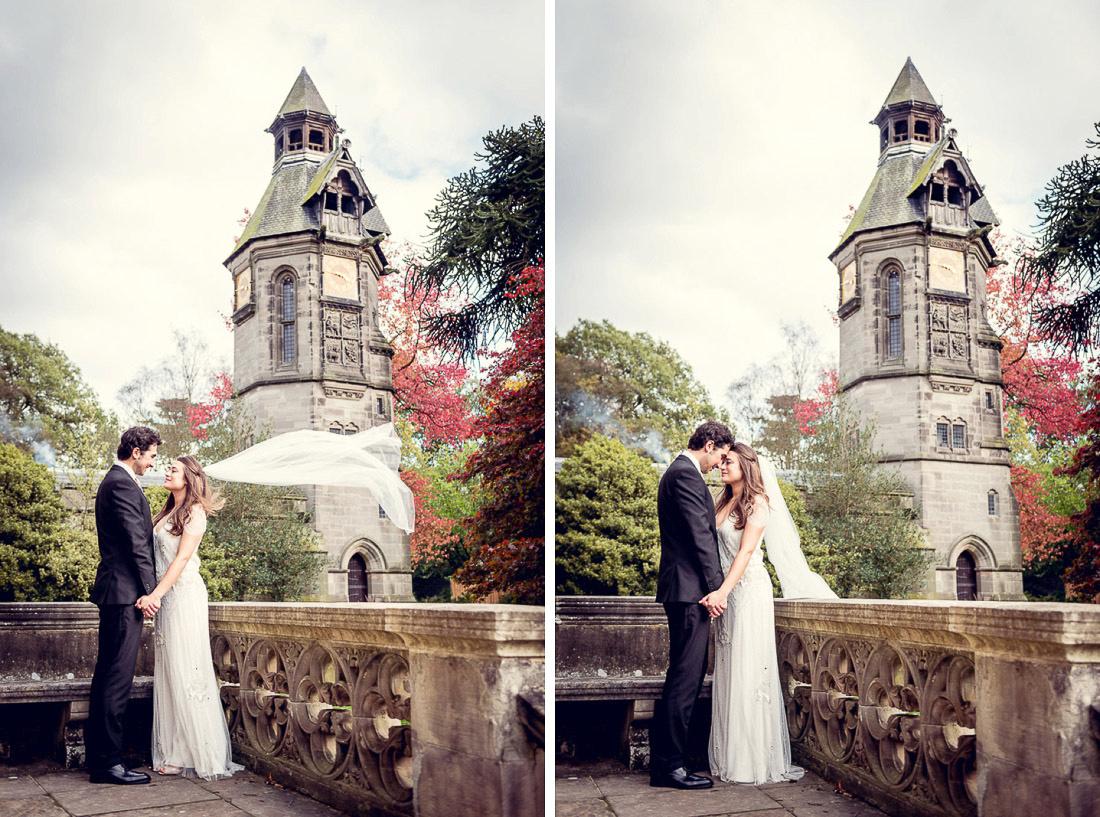 bride and groom portrait with clock at Hampton Manor