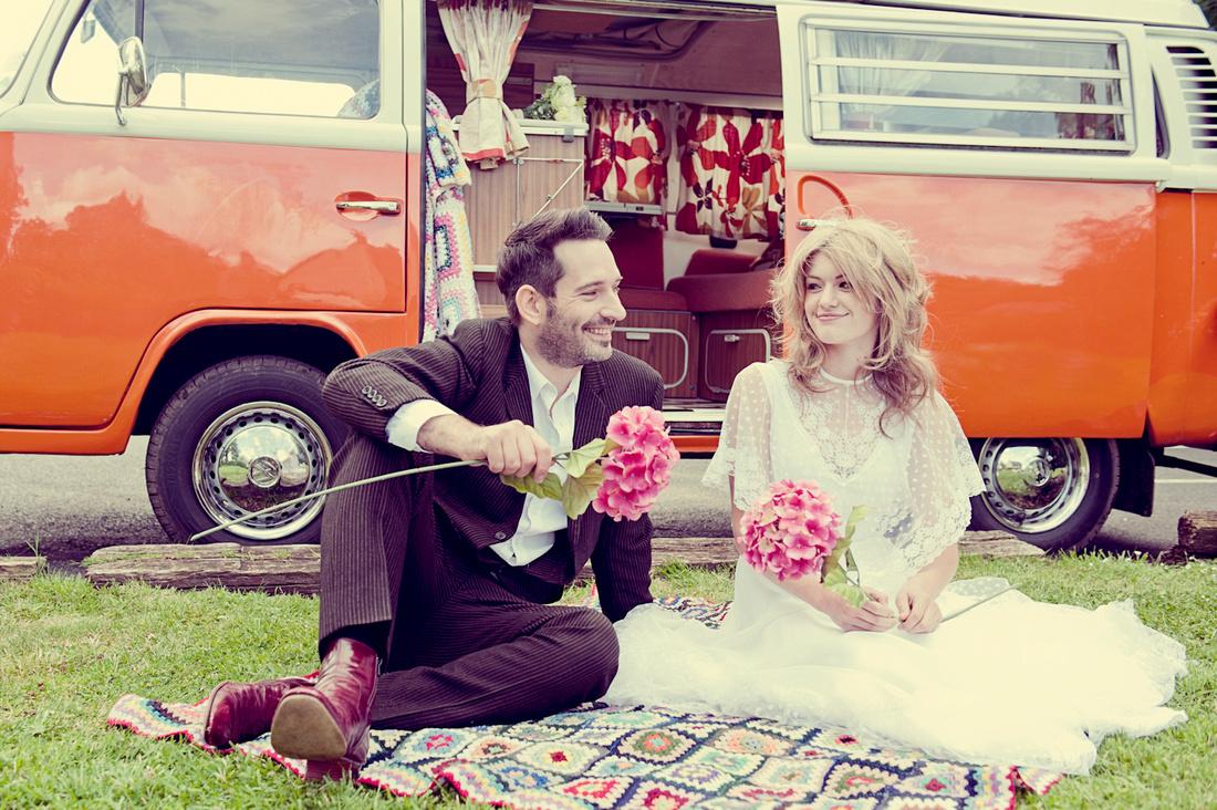 """orange camper van 1970s """"Summer of Love"""" crochet rug"""
