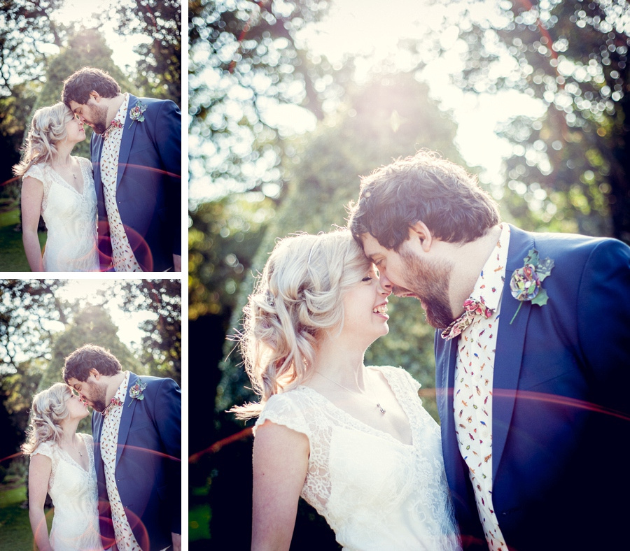 Wedding photography at Highbury Hall in Birmingham bride groom couple portraits fun sunflare