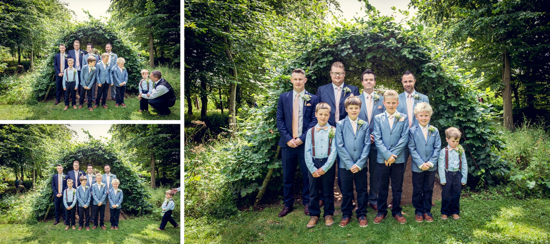 groomsmen pose for photo before wedding with unwilling pageboy