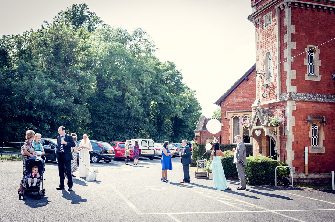 wedding guests outside Hatton Village hall