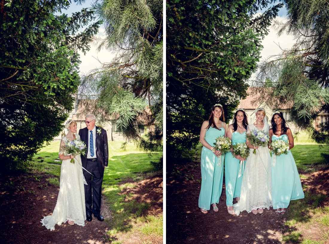 bride, her dad and bridesmaids before wedding at St Mary's Church Hatton Warwickshire
