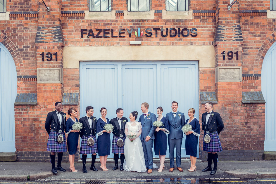 bridal party outside Fazeley Studios