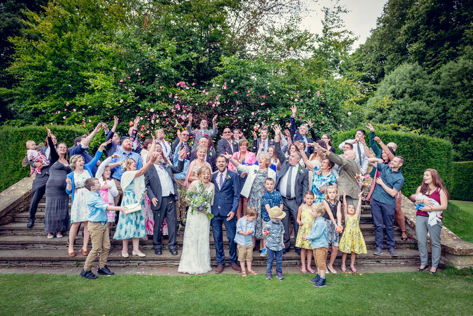 confetti at wedding Hidcote Manor in Gloucestershire