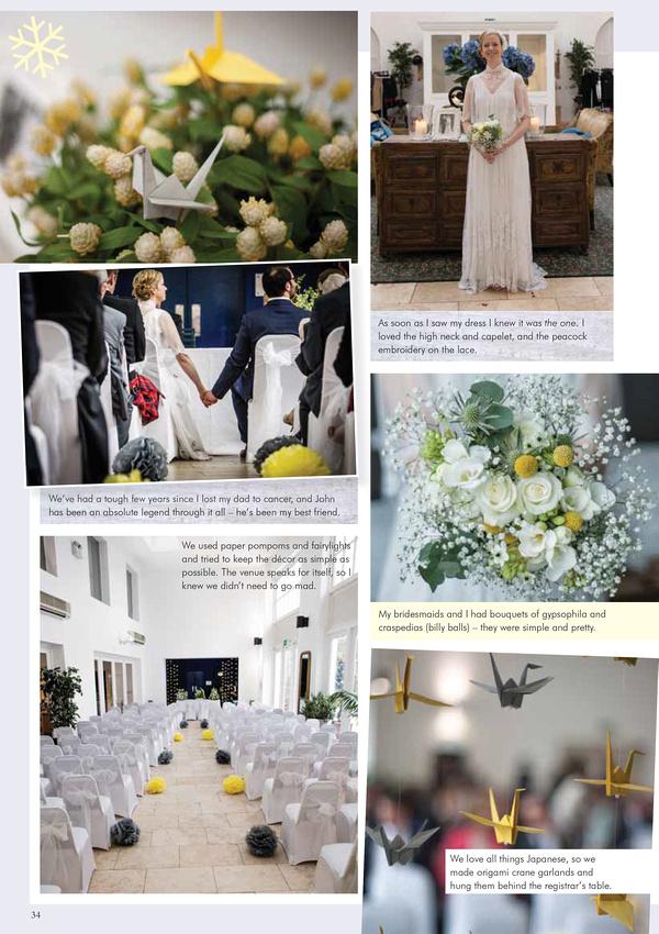"Your West Midlands Wedding Magazine feature quirky  wedding vintage  dress ""Fazeley Studios"" Birmingham grey yellow origami paper cranes"