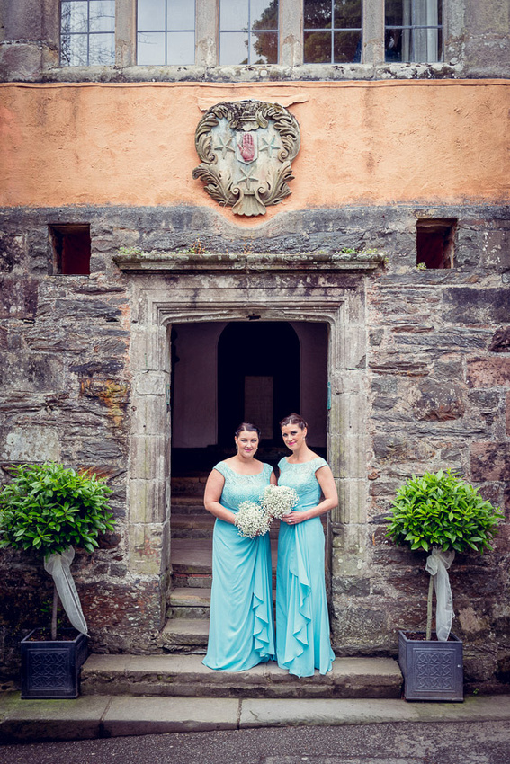 Bridesmaids outside Portmeirion's Hercules Hall
