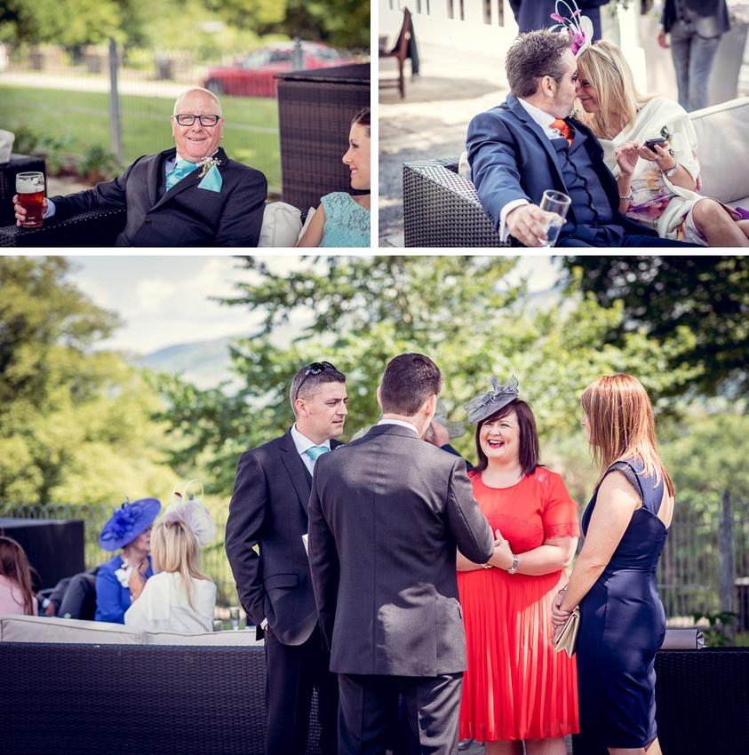 Wedding reception Bride with female wedding guests in Castle Deudraeth gardens