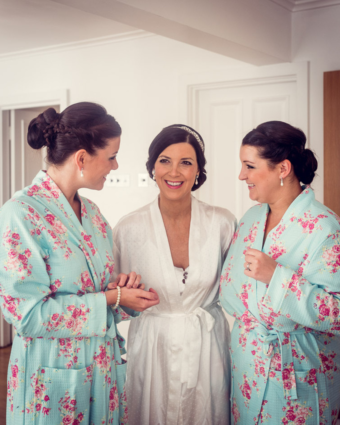 bride with bridesmaids at Castle Deudraeth