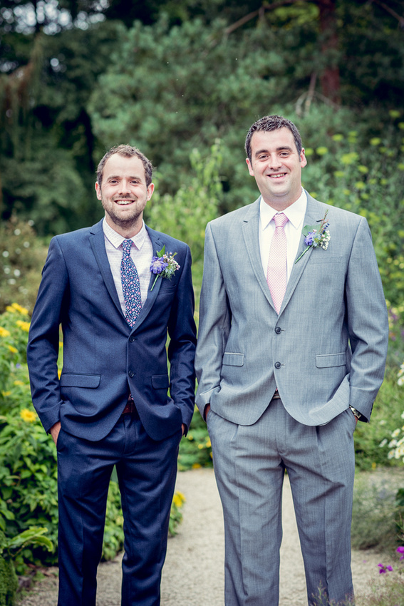 groom and best man at  Hidcote Manor in Gloucestershire