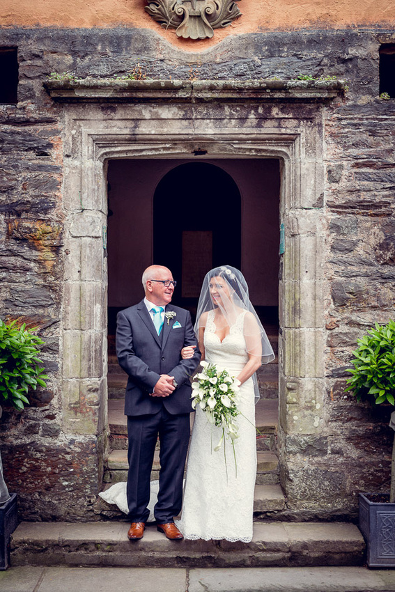 Bride and her father outside Portmeirion's Hercules Hall