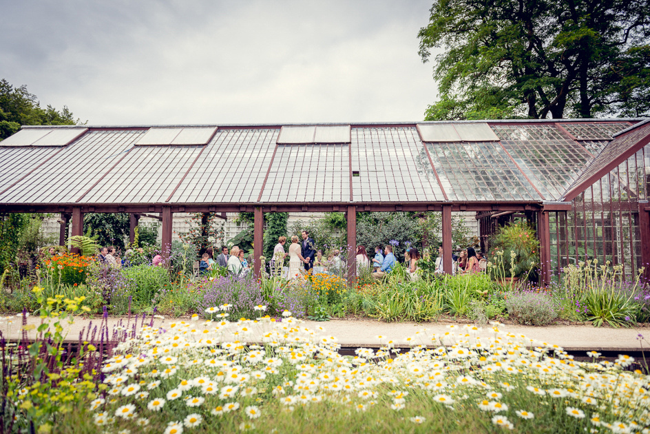 Wedding ceremony at The Plant House at Hidcote Manor