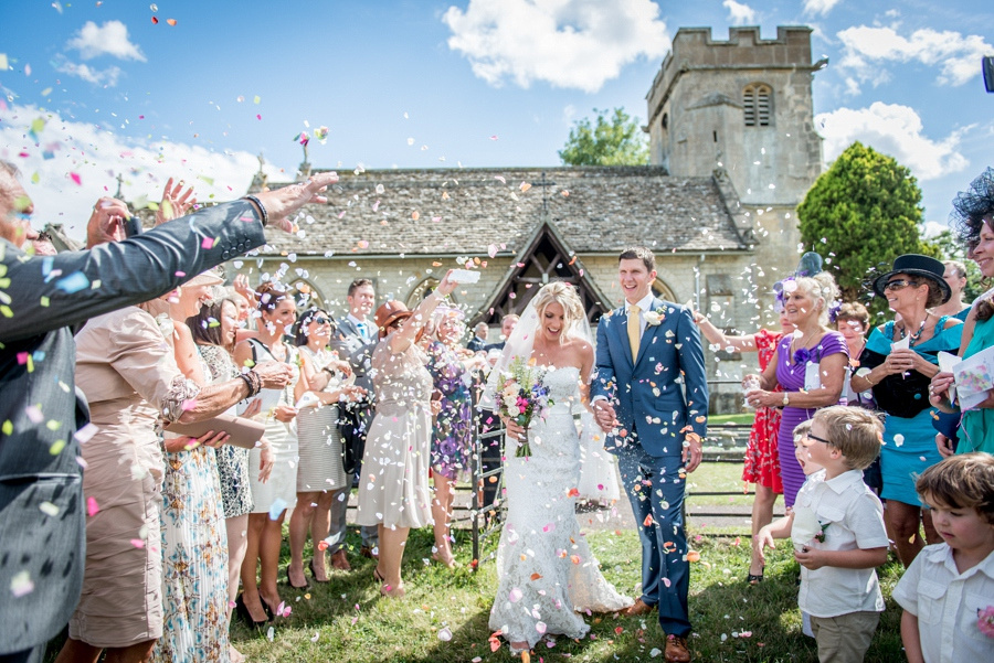 confetti, Down Hatherley, church, wedding