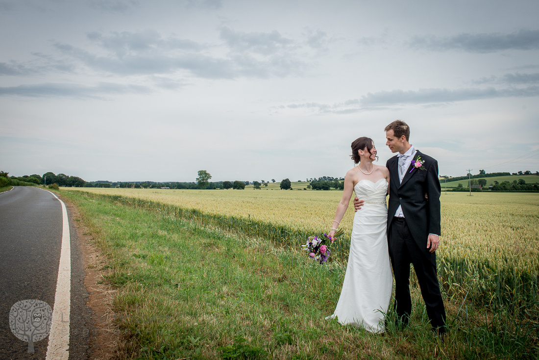 bride, groom, field, road, countryside, Hellidon, Daventry