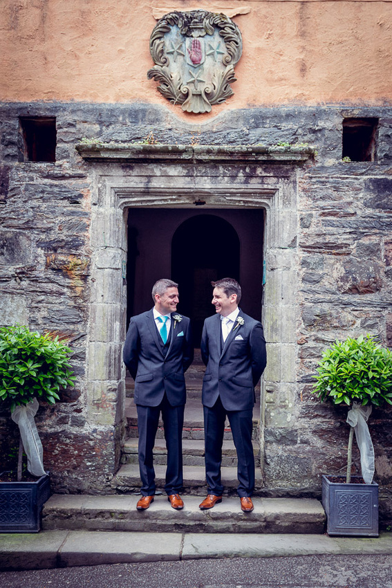 Groom and Best Man outside Portmeirion's Hercules Hall