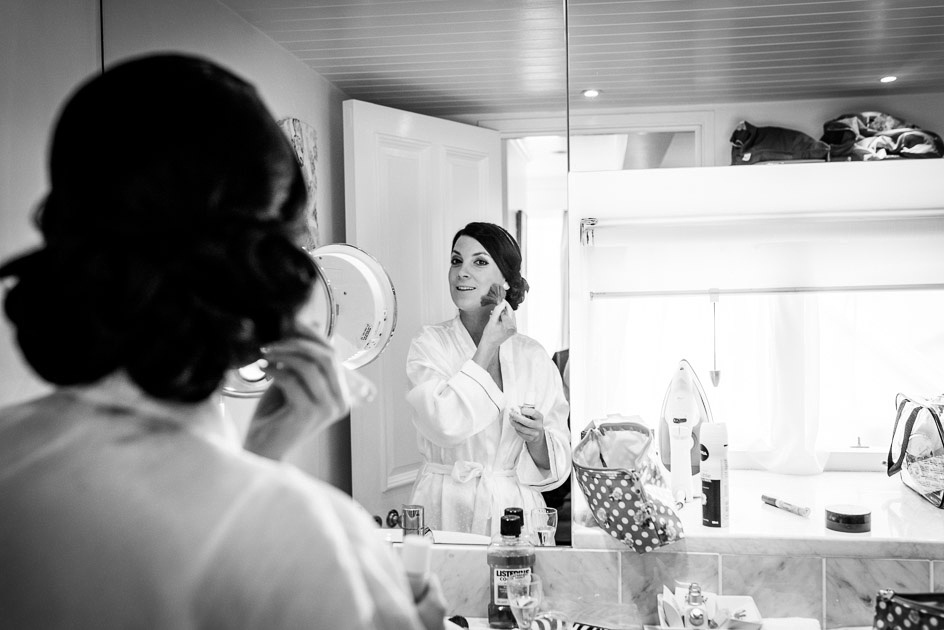 Bride getting ready in Castle Deudraeth Penthouse Suite