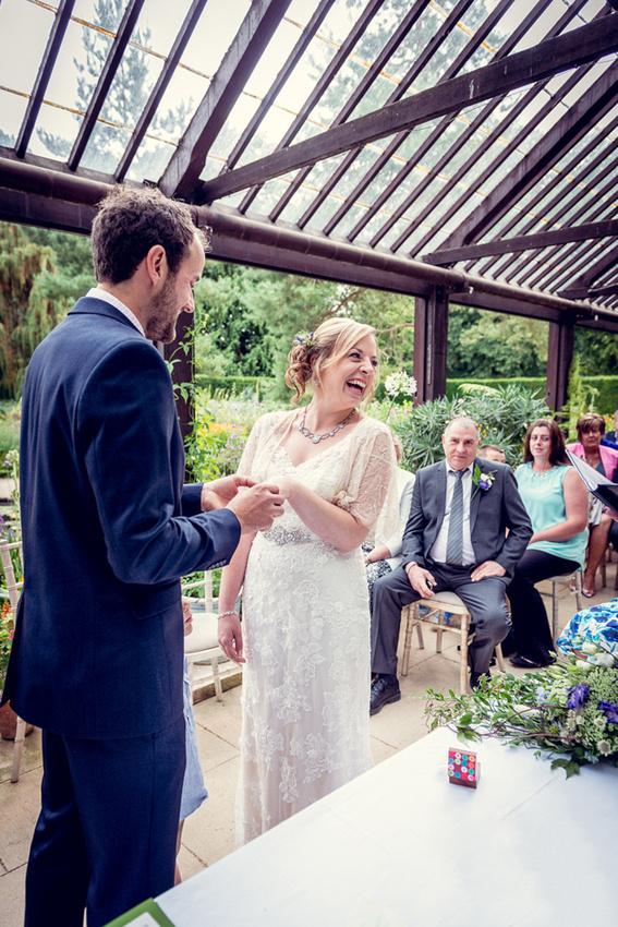 ring exchange at Hidcote Manor wedding