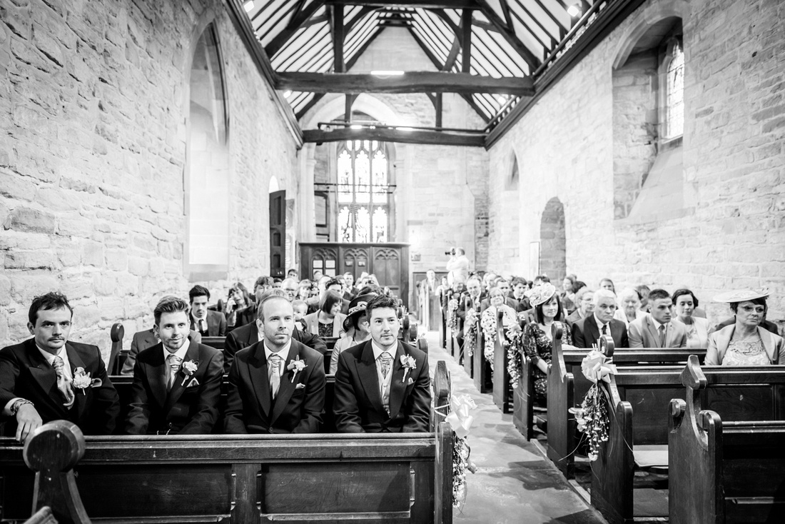 groom waiting in St Nicholas Beaudesert church in Henley in Arden