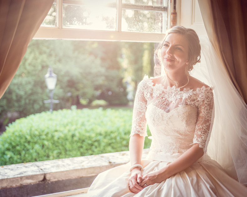 bride sunset Ian Stuart dress Shropshire Hadley Park House