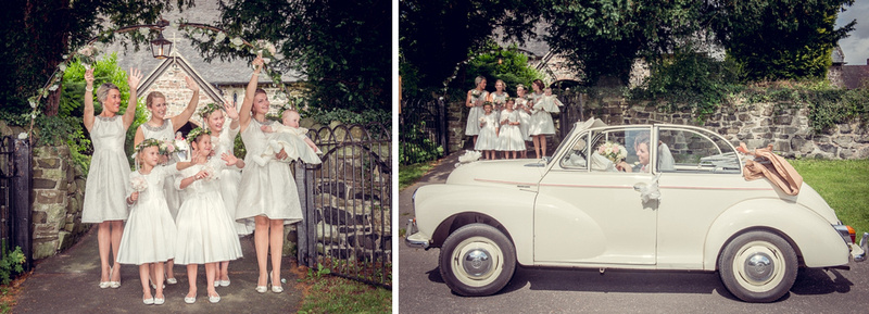 bridesmaids waving bride vintage Morris Minor convertible
