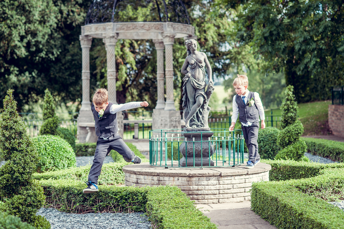 boys running around at Weston Hall in Staffordshire