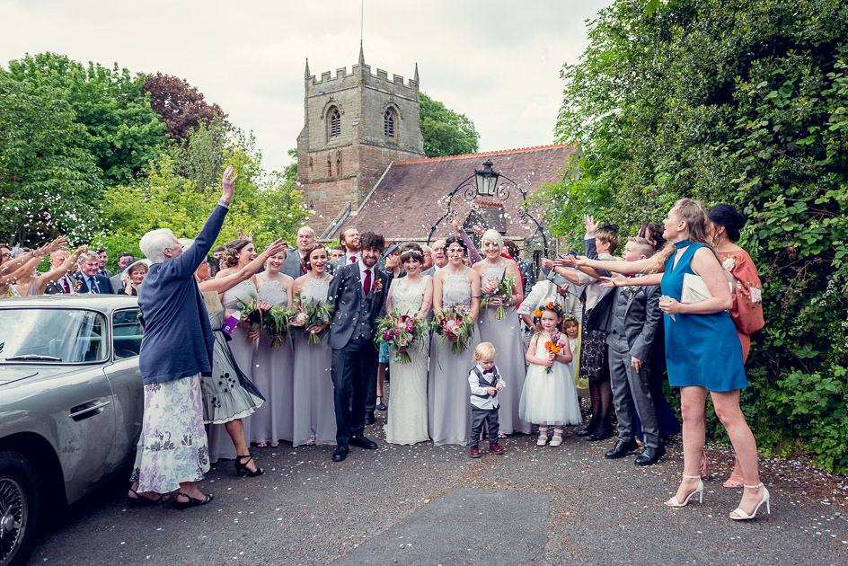 confetti outside St Leonard's Church Beoley