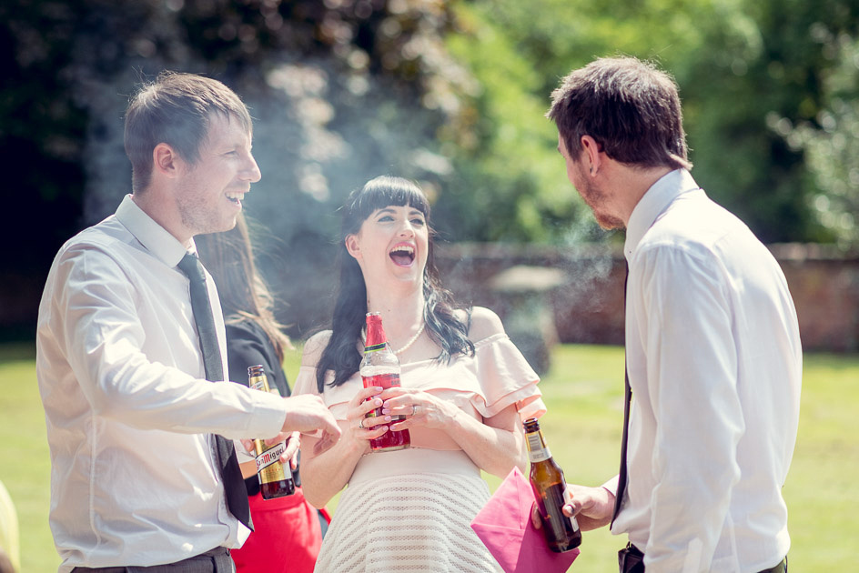 relaxed drinks reception at Gorcott Hall wedding
