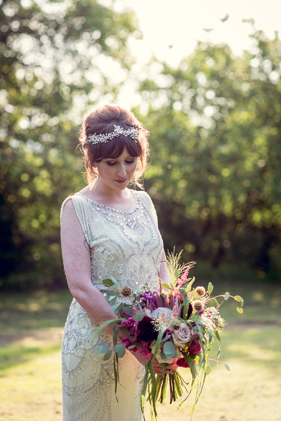golden hour sunset portrait of bride in Jenny Packham dress at Gorcott Hall near Redditch