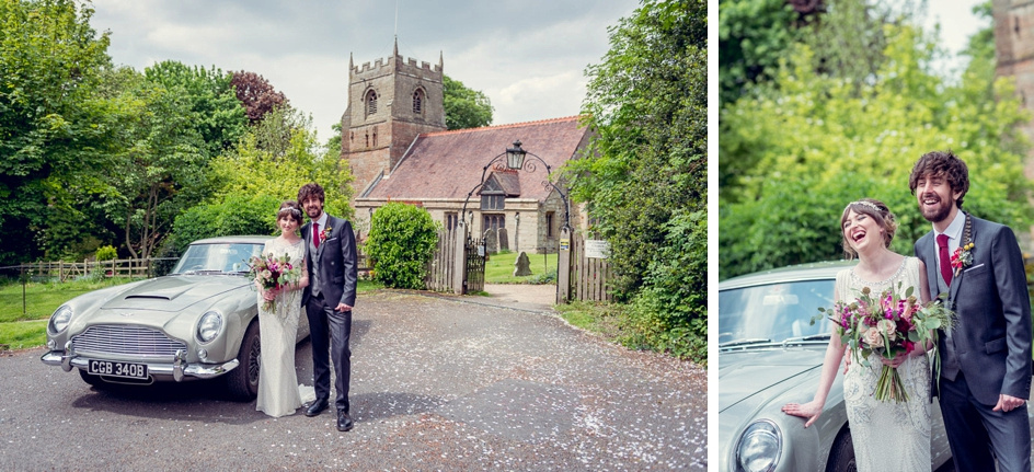 bride and groom with vintage Aston Martin outside St Leonard's Church Beoley