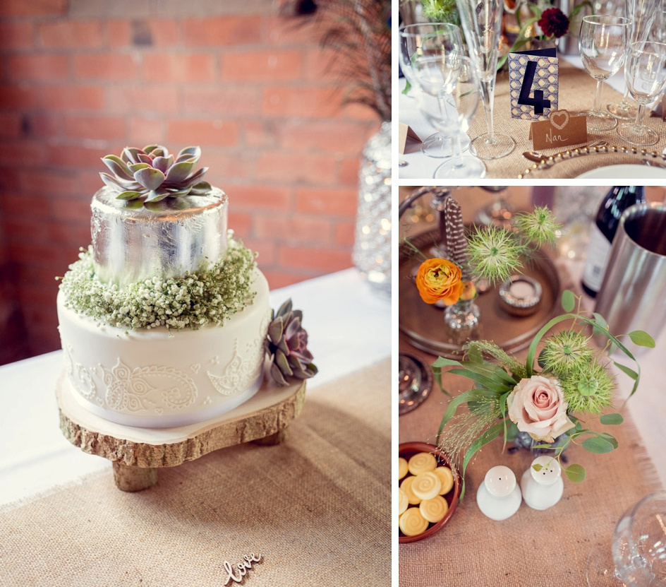 cake and table decor at vintage styled wedding
