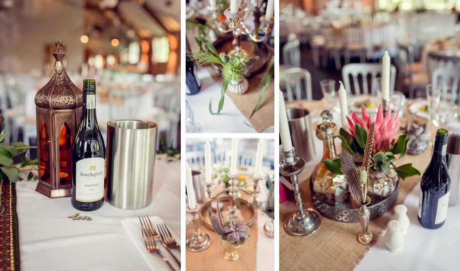 vintage table settings with feathers at Gorcott Hall wedding