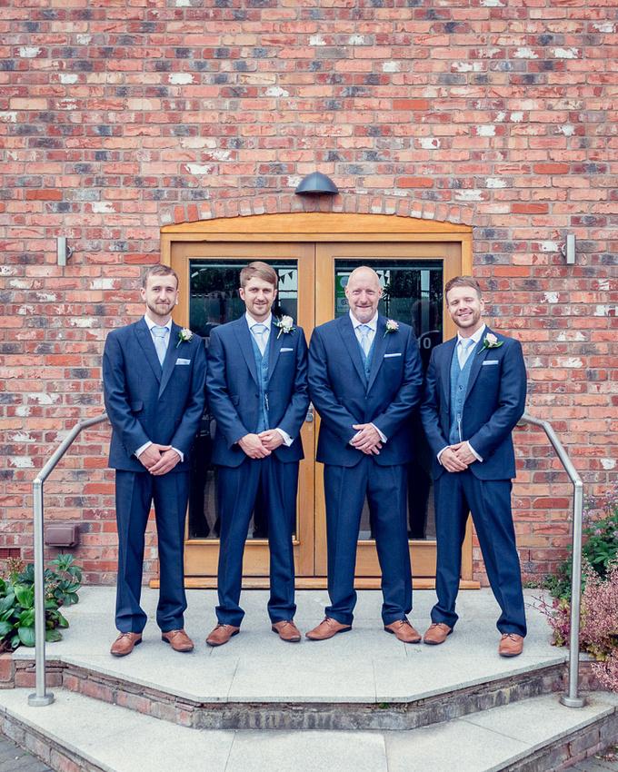 groom and groomsmen outside Wootton Park  wedding venue